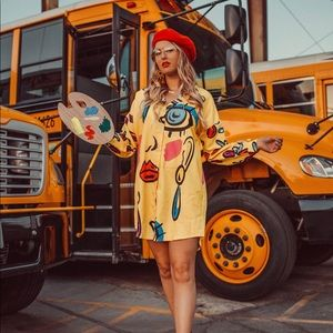 Abstract Picasso Shirt Dress